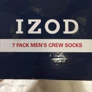 IZOD 7 Pack Men's Crew Socks NWT